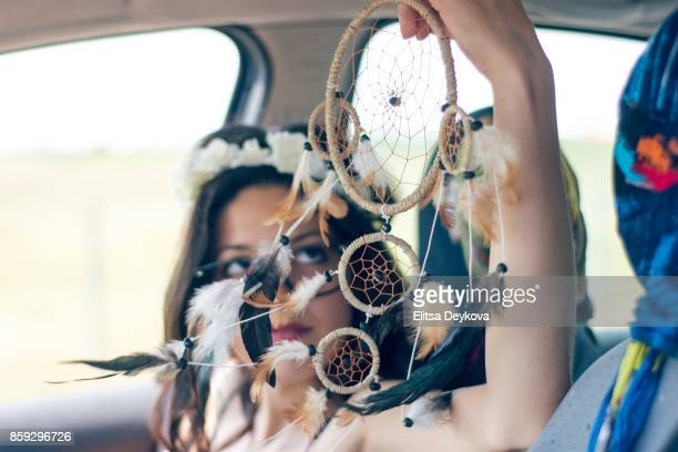 Young hipster woman in a road trip