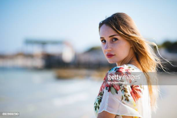 young hipster woman with beach kimono by the sea - japanese bikini models stock pictures, royalty-free photos & images
