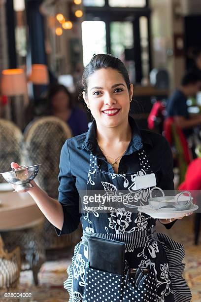 Young hispanic waitress