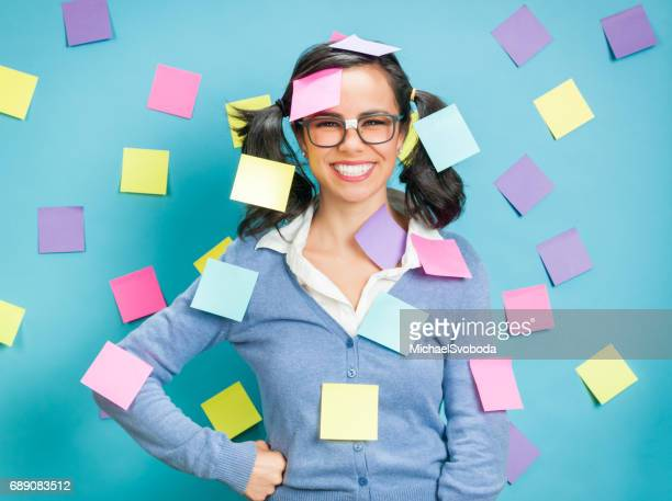 Young Hispanic Women Showing Emotional Expressions Coverd In Post-its