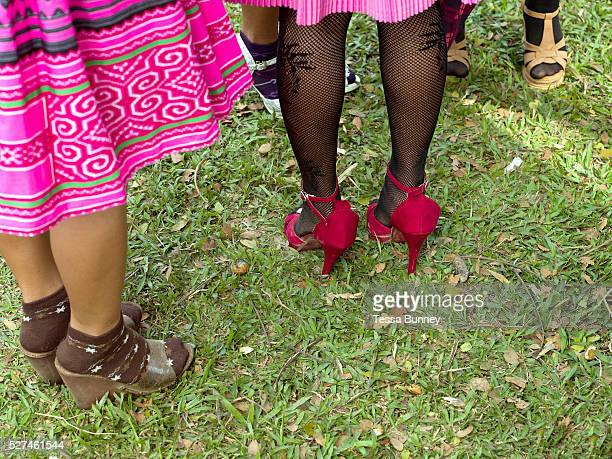 Young Hmong Der women wearing contemporary Hmong traditional costume at Ban Km 52 Hmong New Year festival Vientiane province Lao PDR The Hmong...