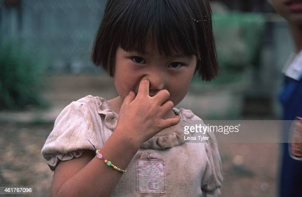 A young Hmong girl picking her nose in a camp outside of Nan For the Hmong like many cultures of Asia nose picking does not carry the connotations it...