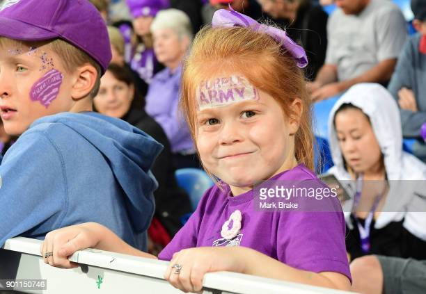 Young Hobart Hurricanes fan during the Big Bash League match between the Hobart Hurricanes and the Adelaide Strikers at Blundstone Arena on January 4...