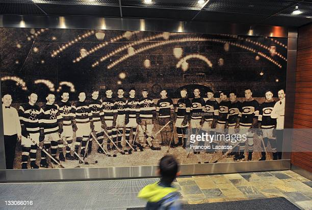 A young hockey fan admires a large photo depicting the 1917 Montreal Canadiens and a team from Seatle prior to the NHL game against the Montreal...