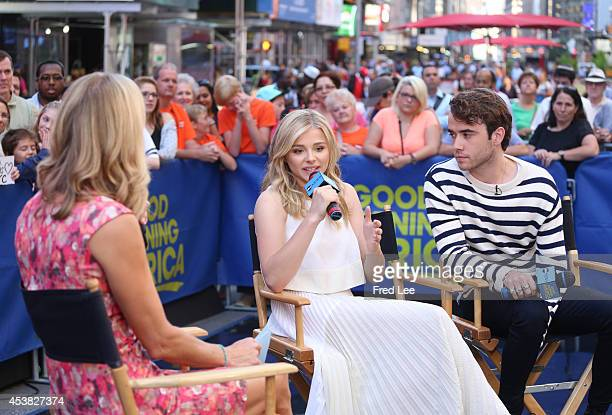AMERICA Young Hollywood stars Chloe Moretz and Jamie Blackley appear on GOOD MORNING AMERICA 8/18/14 airing on the Walt Disney Television via Getty...