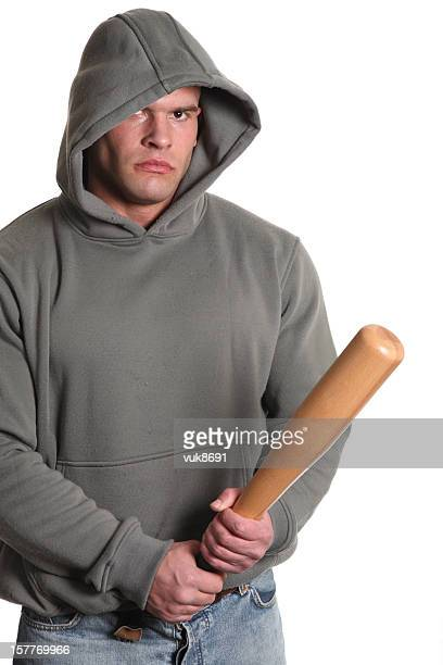 Junge hooligan mit Baseballschläger
