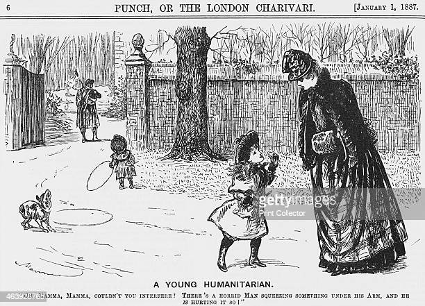 'A Young Humanitarian' 1887 A little girl hearing the bagpipes' music is scared that the gentleman in a kilt is hurting some poor animal In the...