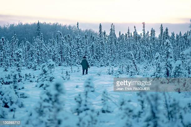 Young hunter in Alaska United States In the taiga
