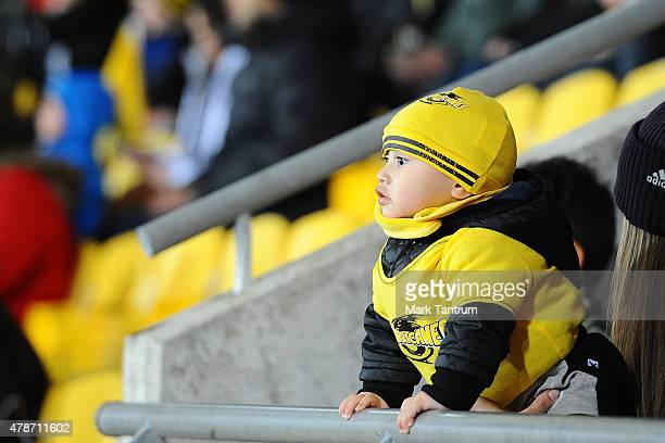 A young Hurricanes fan before the Super Rugby Semi Final match between the Hurricanes and the Brumbies at Westpac Stadium on June 27 2015 in...
