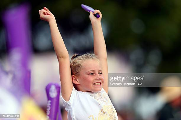 A young Hurricanes fan shows her support during the Big Bash League match between the Hobart Hurricanes and the Perth Scorchers at Blundstone Arena...