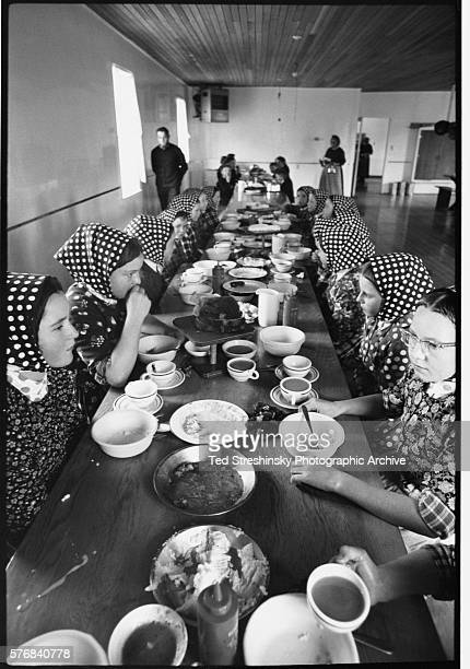 Young Hutterite women dine at their designated table A fundamentalist religious sect Hutterites require all females to cover their heads and meals...
