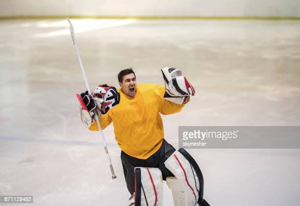 young ice hockey goalie celebrating the victory in a rink and shouting of joy. - hockey player stock pictures, royalty-free photos & images