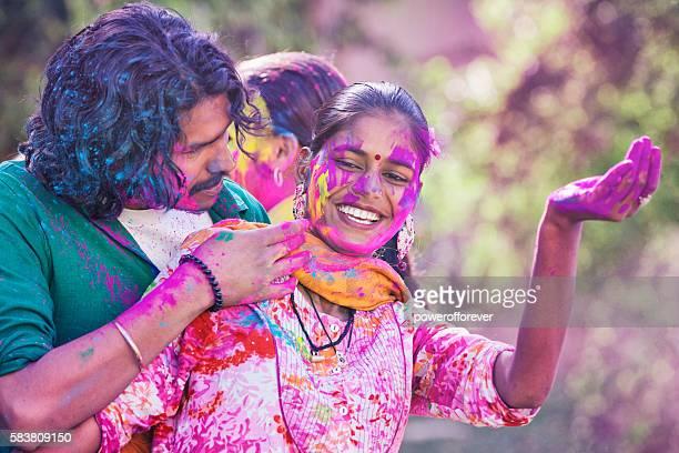 Young Indian Couple Enjoying Holi Festival in Jaipur, India