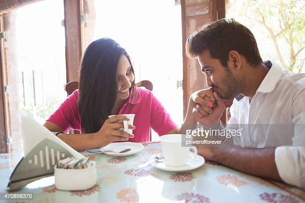 young indian couple on a date - indian couples stock pictures, royalty-free photos & images