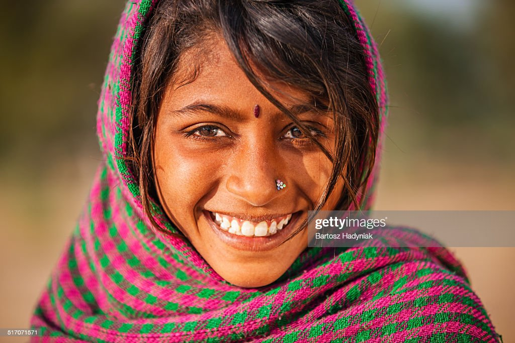 Young Indian Girl In Desert Village Stock Photo