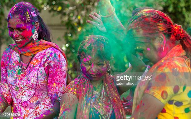 Young Indian Girls Celebrating Holi