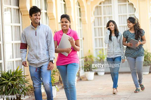 young indian high school students - indian college girls stock photos and pictures