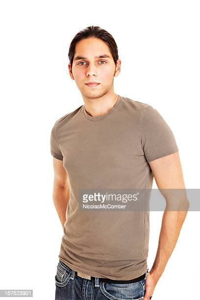 Young Indian man in T-shirt on white