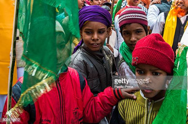 Young Indian Muslims participate at Milad un Nabi in Varanasi. Milad un Nabi as it is commonly known in Muslim culture, is celebrated in most of the...