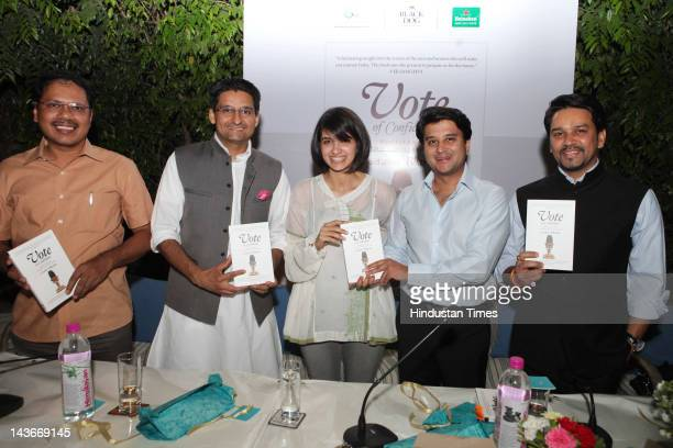 Young Indian politicians Deepender Singh Hooda Jyotiraditya Scindia and Anurag Thakur pose with writer and columnist Aashti Bhartia as they attend...