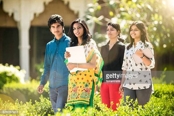 Young Indian Students hanging out on Campus