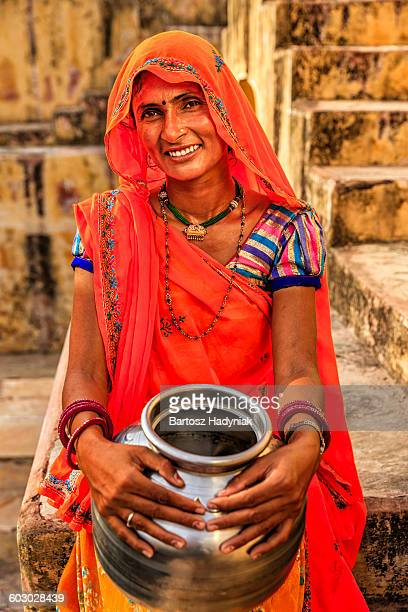 young indian woman in village near jaipur - tradition stock pictures, royalty-free photos & images