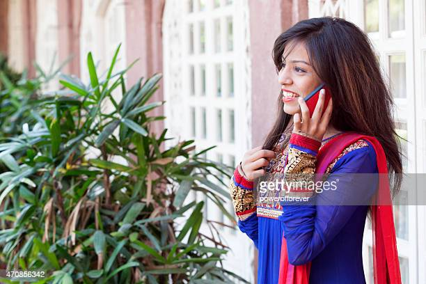 Young Indian Woman Talking on Smart Phone