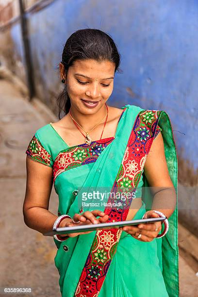 Young Indian woman using digital tablet, Jodhpur, India