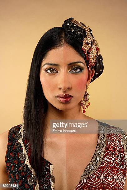 Young Indian woman with and without make-up