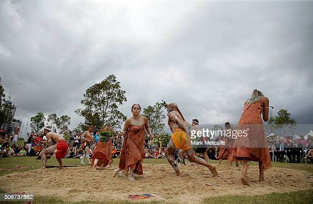 Young Indigenous artists perform the WugulOra morning ceremony at Barangaroo Reserve on January 26 2016 in Sydney Australia Australia Day formerly...
