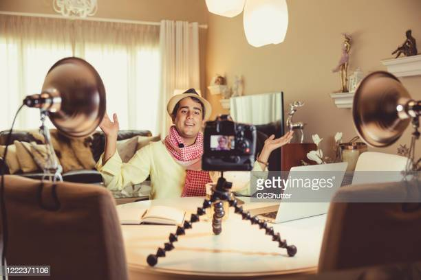 young influencer vlogging from home during covid-19 pandemic - social media marketing stock pictures, royalty-free photos & images