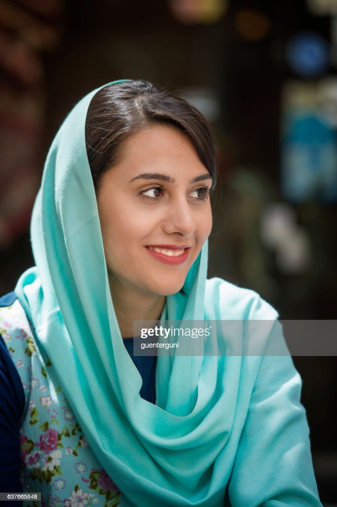 Young iranian woman wearing a headscarf, Isfahan, Iran : Stock Photo