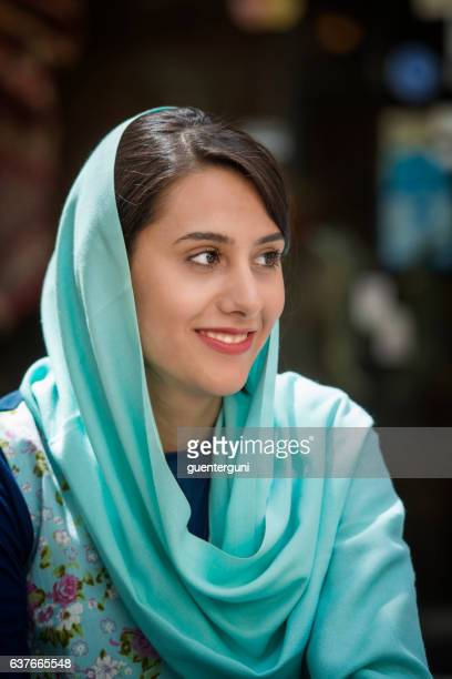 young iranian woman wearing a headscarf, isfahan, iran - iranian woman stock photos and pictures
