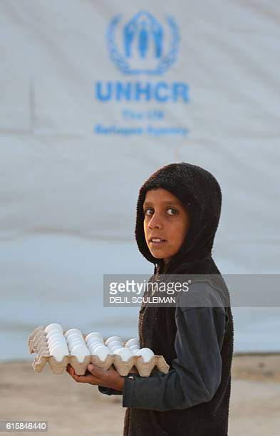 A young Iraqi refugee who fled due to the ongoing conflict between progovernment forces and Islamic State group jihadists carries eggs at a camp in...