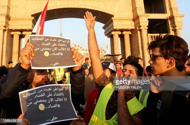 Young Iraqis protest in the southern Iraqi city of Basra against corruption and unemployment on December 7 2018 Some protestors are wearing yellow...