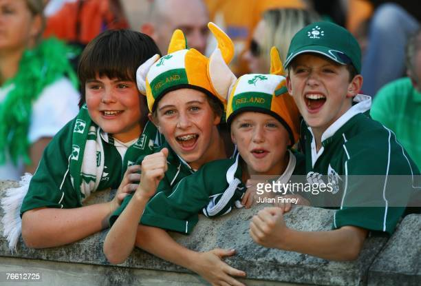 Young Ireland fans show their support prior to Match Eight of the Rugby World Cup 2007 between Ireland and Namibia at the Stade ChabanDelmas on...