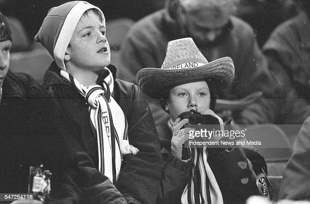 Young irish fans at the Ireland v England at Landsdowne Road. Following the Irish goal a riot erupted and the game was abandoned Picture Tom Burke...