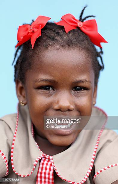 A young Jamaican girl at Bustamente Children's Hospital on March 6 2012 in Kingston Jamaica Prince Harry is in Jamaica as part of a Diamond Jubilee...