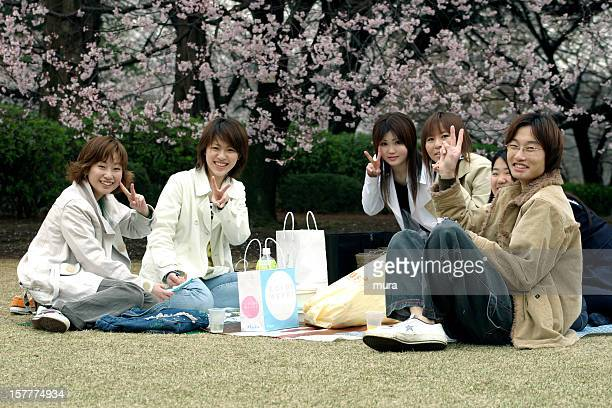 young japanese adults enjoy the cherry blossom - hanami stock pictures, royalty-free photos & images