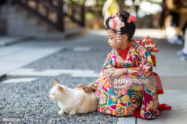 a young japanese girl dressed in a traditional kimono petting a cat - kimono stock pictures, royalty-free photos & images