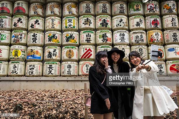 Young Japanese women taking a selfie of themselves