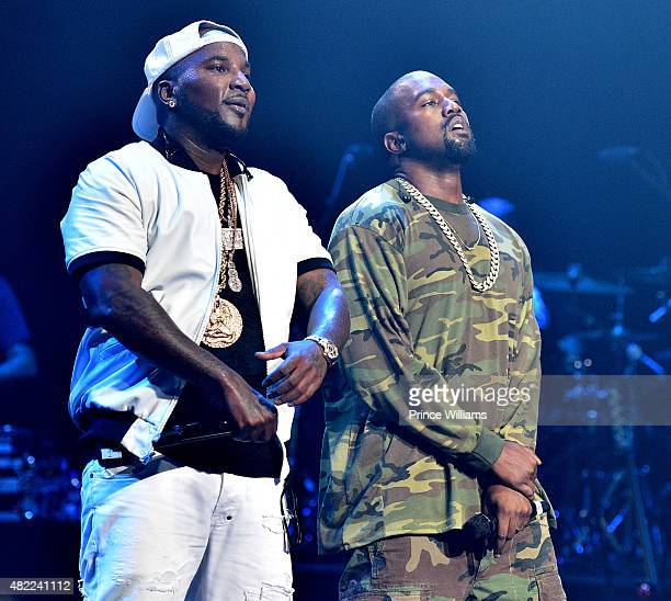 Young Jeezy and Kanye West perform at Jeezy presents TM101 10 Year anniversary Concert at The Fox Theatre on July 25 2015 in Atlanta Georgia