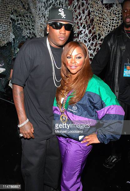Young Jeezy and Lil Kim during 2006 VH1 Hip Hop Honors Backstage and Audience at Hammerstein Ballroom in New York City New York United States