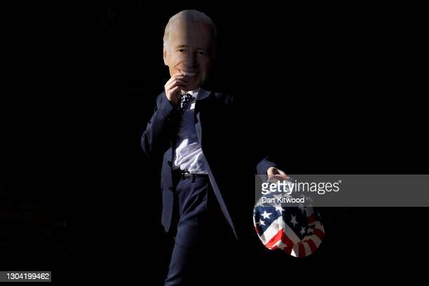 Young Jewish boy dressed as US President Joe Biden in Stamford Hill during Purim, on February 26, 2021 in London, England. Purim is usually...