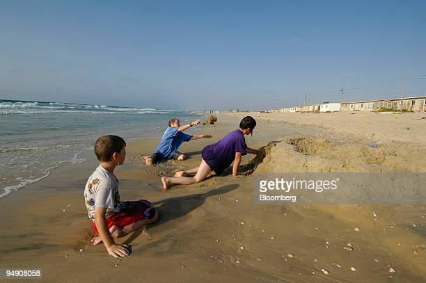 Young Jewish boys play on the beach at the Shirat Hayam settlement Friday July 15 2005 Jewish settlements are scheduled to be evacuated in August as...