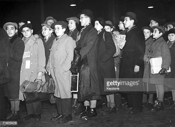 Young Jewish refugees from Germany and Austria arrive at Liverpool Street Station to spend Christmas with various foster parents 23rd December 1938...