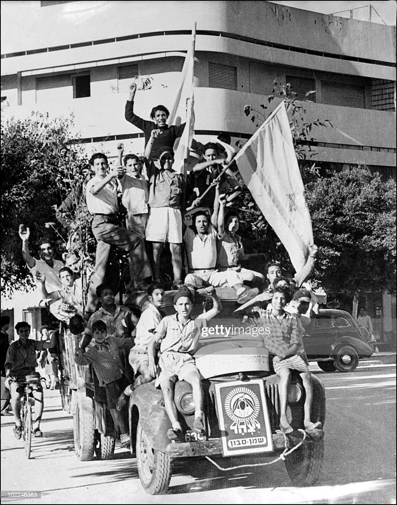Young Jews celebrate 14 May 1948 in Tel Aviv the proclamation of a new state of Israel. Israel was founded 14 May 1948 in Tel Aviv by the Jewish National Council. On November 29, 1947, the United Nations' General Assembly voted resolution 181 on the division of Palestine in two states, one Jewish and one Arab. The State of Israel was proclamed on 14 May 1948 by the Jewish National Council and was recognized by the United States and the Soviet Union 15 and 17 May the same year. Arab States of Lebanon, Syria, Jordan, Egypt and Iraq crossed the borders from north, east and south with their regular armies 15 May 1948. Agreements signed in 1949 between Israel and the Arab States ended the 1948 Arab-Israeli War, and established the armistice lines between Israel and the West Bank, also known as the Green Line, until the 1967 Six-Day War.