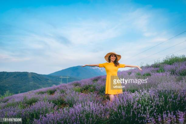young joyful woman in lavender field - flower part stock pictures, royalty-free photos & images