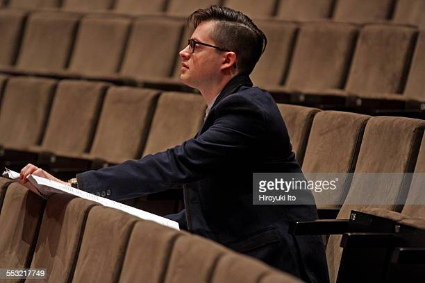 Young Juilliard composers and the conductor Jeffrey Milarsky with the Juilliard Orchestra in rehearsal at Alice Tully Hall on Tuesday morning April...