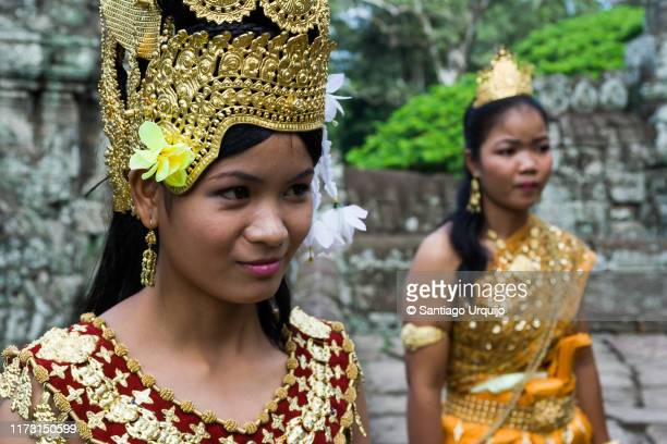 young khmer dancers in angkor wat - classical mythology character stock photos and pictures
